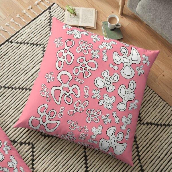 Amoeba pink, black and white pattern Floor Pillow