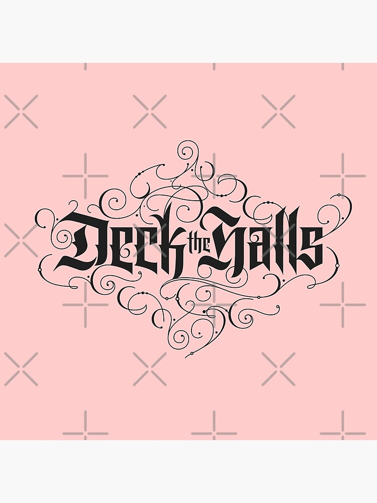 """Elegant Black Christmas Carol 'Deck the Halls"""" Calligraphy on pastel Blush Pink by 26-Characters"""