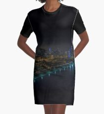 Chicago Night Time Skyline Aerial Photo Graphic T-Shirt Dress