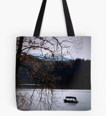 Lake Bled with boat Tote Bag