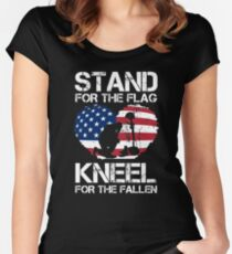 Stand For The Flag, Kneel For The Fallen! Women's Fitted Scoop T-Shirt