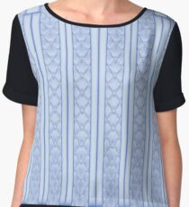 Frosted Pale Blue Quilted Art Deco Design Women's Chiffon Top