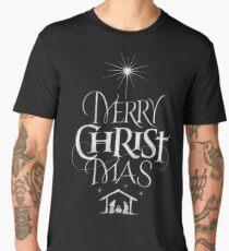 Merry Christmas Religious Christian Calligraphy Christ Mas Chalkboard Jesus Nativity Men's Premium T-Shirt