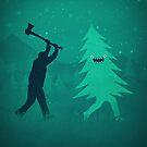 Funny Christmas Tree Hunted by lumberjack (Funny Humor) by badbugs