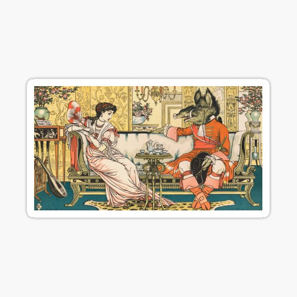 Beauty and the Beast Vintage Illustration #7 Sticker
