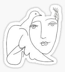 Picasso dove face sketch Sticker