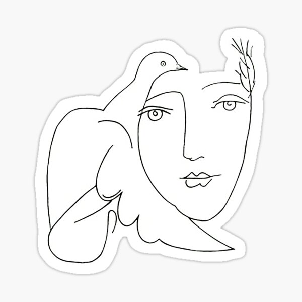 Picasso dove face sketch Sticker