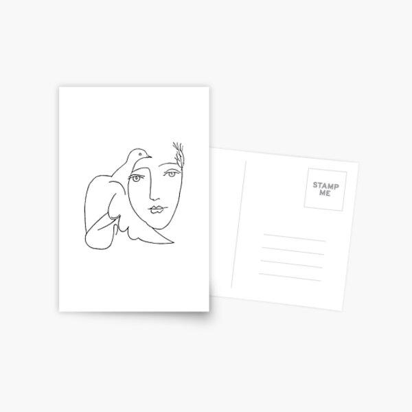 Croquis de visage colombe Picasso Carte postale