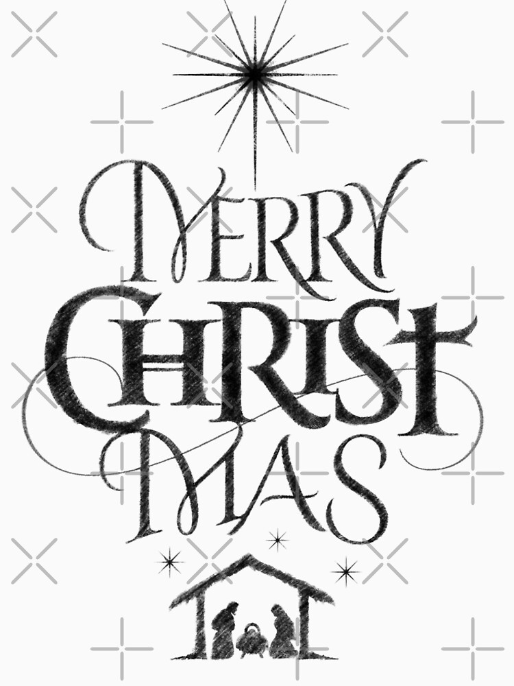 religious christian calligraphy merry christmas christ mas sketched jesus nativity by 26 characters - Merry Christmas Black And White