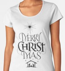 Religious Christian Calligraphy Merry Christmas Christ Mas Sketched Jesus Nativity Women's Premium T-Shirt