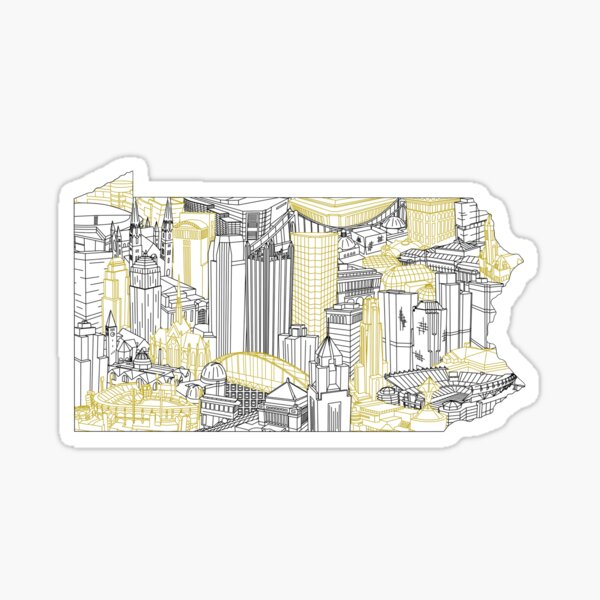 Pittsburgh Skyline Art Sticker