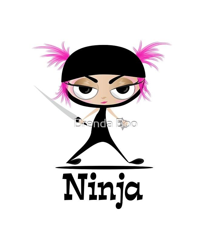 quotcute ninja girl vector artquot posters by brenda boo redbubble