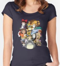 Studio Ghibli Collage Women's Fitted Scoop T-Shirt