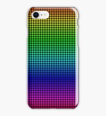 Red Green Blue Purple Neon Rainbow Houndstooth Check Pattern iPhone Case/Skin