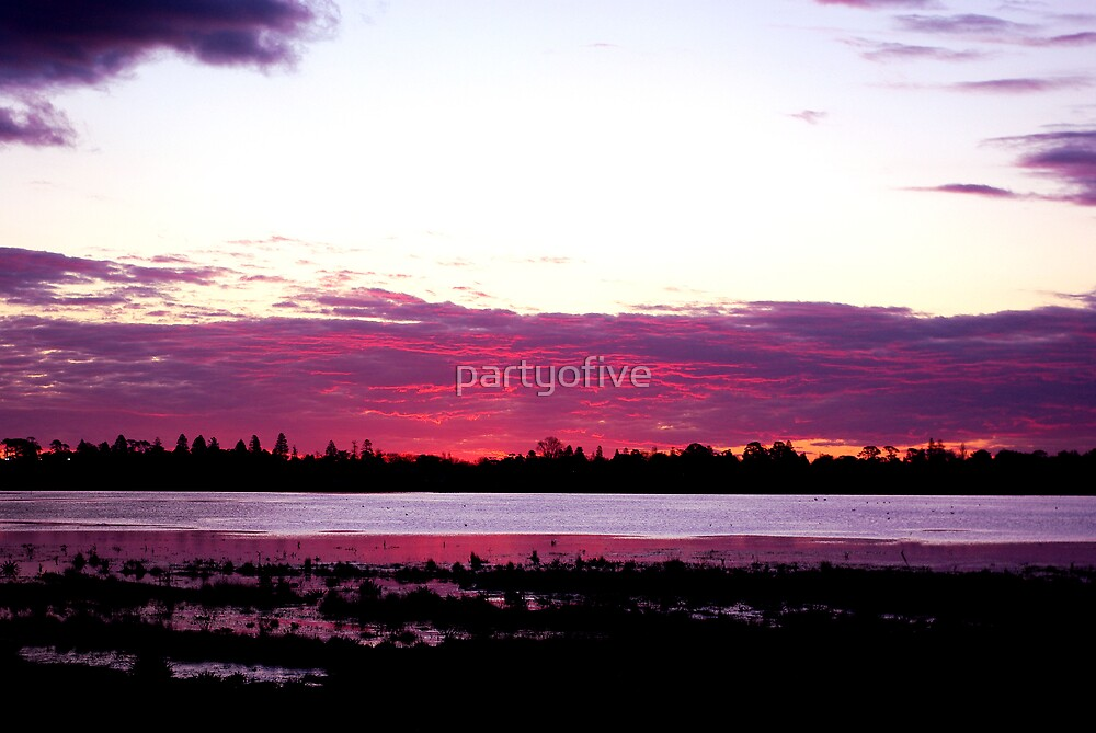 pink susnet over lake wendouree... by partyofive