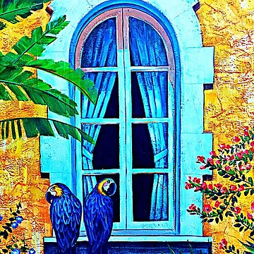 Blue Parrots In The Window by norastpatrick