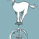 Goat on a unicycle by Matt Mawson