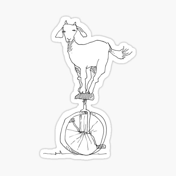 Goat on a unicycle Sticker