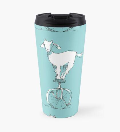 Goat on a unicycle Travel Mug