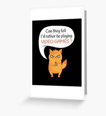 Rather Play Video Games Funny Neon Cat Gamer Greeting Card