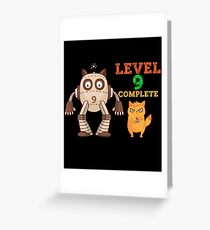 New Level Unlocked Complete Funny Gamer Cat Robot Greeting Card