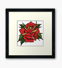 Neotraditional tattoo rose Framed Print
