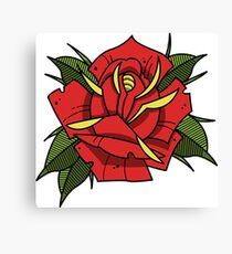 Neotraditional tattoo rose Canvas Print