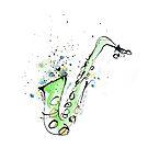 Saxophone - vibrant ink sketch of sax by ArtyMargit