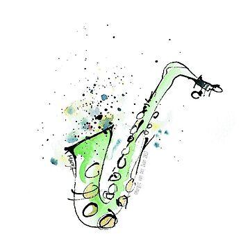 Saxofón - bosquejo vibrante de la tinta del saxofón de ArtyMargit