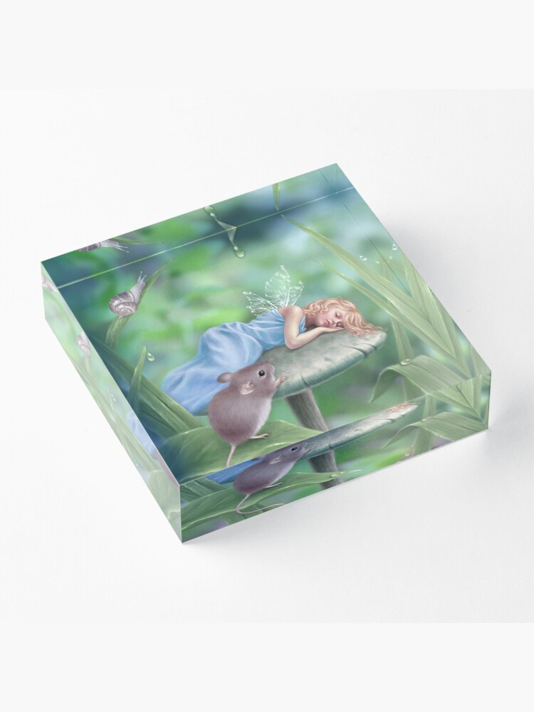 Alternate view of Sweet Dreams Sleeping Fairy & Mouse Acrylic Block