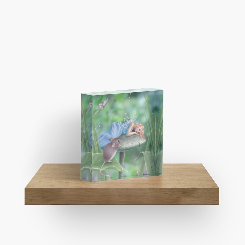 Sweet Dreams Sleeping Fairy & Mouse Acrylic Block