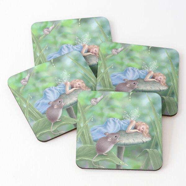 Sweet Dreams Sleeping Fairy & Mouse Coasters (Set of 4)