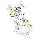 Trumpet ink drawing by ArtyMargit