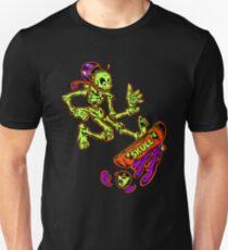 Skeleton jumping Skateboard Design Funny Skateboarder Cartoon T-Shirt