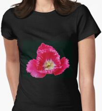 Pink Frilled Tulip on Black Background Womens Fitted T-Shirt
