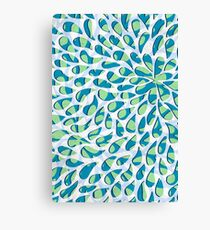 Organic Petals Pattern Blue Green Canvas Print