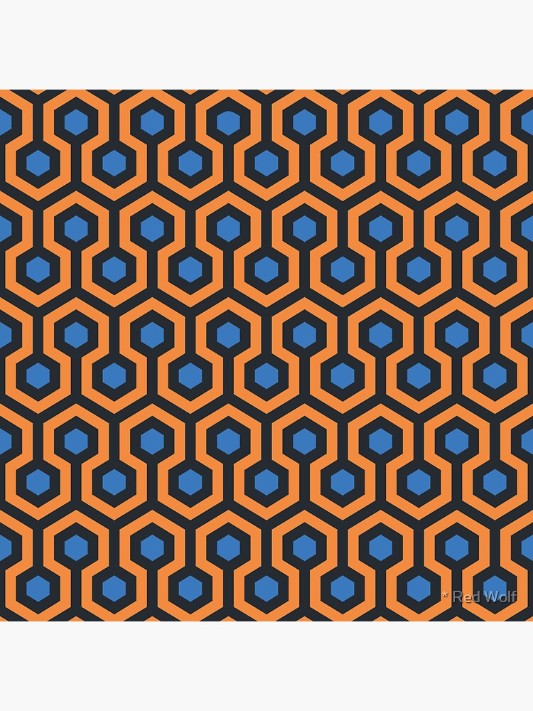 Geometric Pattern: Looped Hexagons: Orange/Blue by redwolfoz