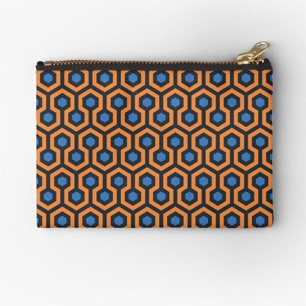 Geometric Pattern: Looped Hexagons: Orange/Blue Zipper Pouch