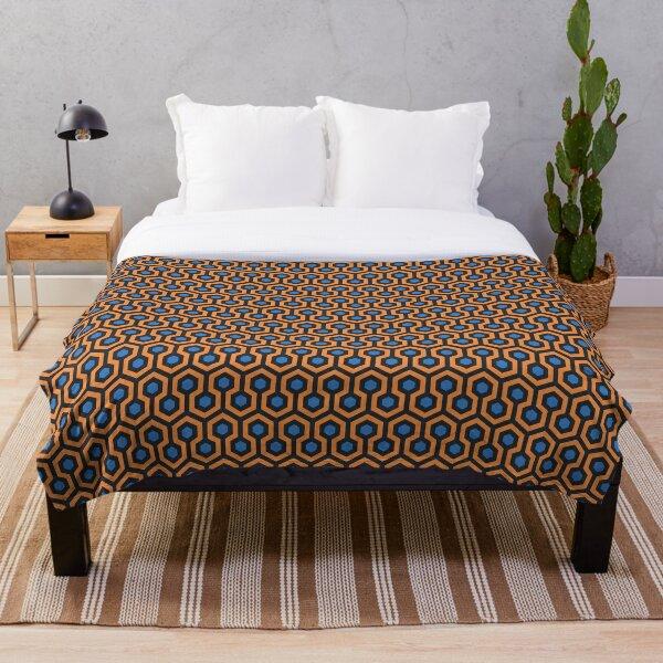 Geometric Pattern: Looped Hexagons: Orange/Blue Throw Blanket