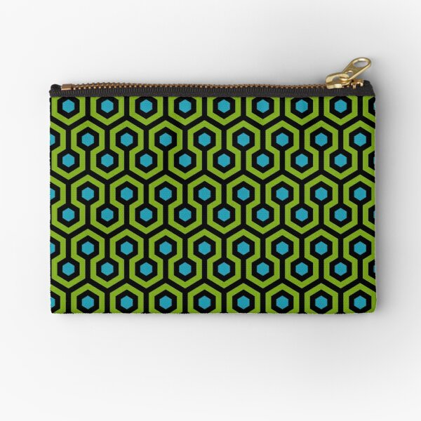 Geometric Pattern: Looped Hexagons: Green/Blue Zipper Pouch
