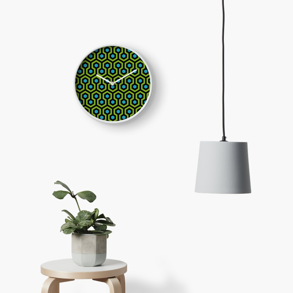Geometric Pattern: Looped Hexagons: Green/Blue Clock