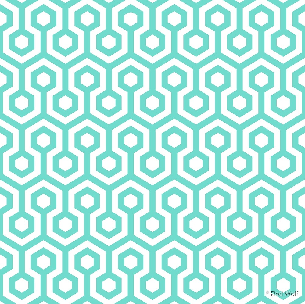 Geometric Pattern: Looped Hexagons: Blue by * Red Wolf