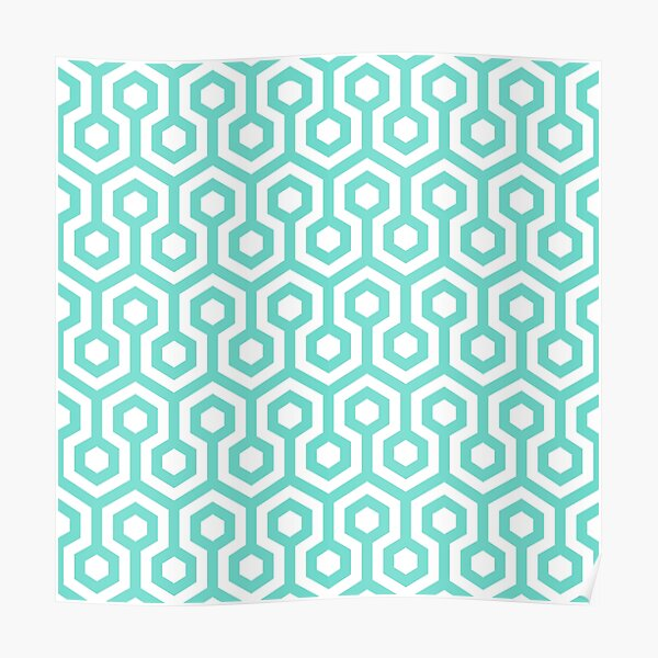 Geometric Pattern: Looped Hexagons: Blue Poster