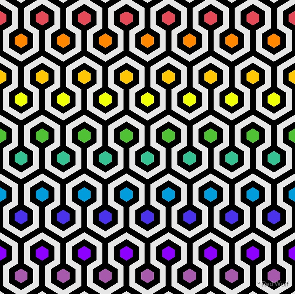 Geometric Pattern: Looped Hexagons: Rainbow by * Red Wolf