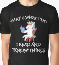 I Read and I Know Things Teacher Unicorn Read Books Graphic T-Shirt