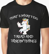 Readers Gonna Read I Read And I Know Things Teacher Unicorn Graphic T-Shirt