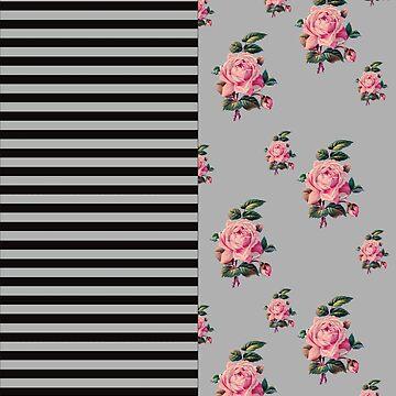 Half Half stripe and roses floral pattern by wensteve