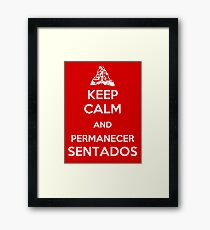 remain seated, please Framed Print