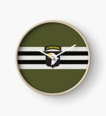 D-Day Stripes with 101st Airborne Patch (Horizontal) Clock