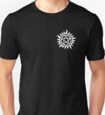 Supernatural Demon Possession Protection (Badge Version) [WHITE] T-Shirt
